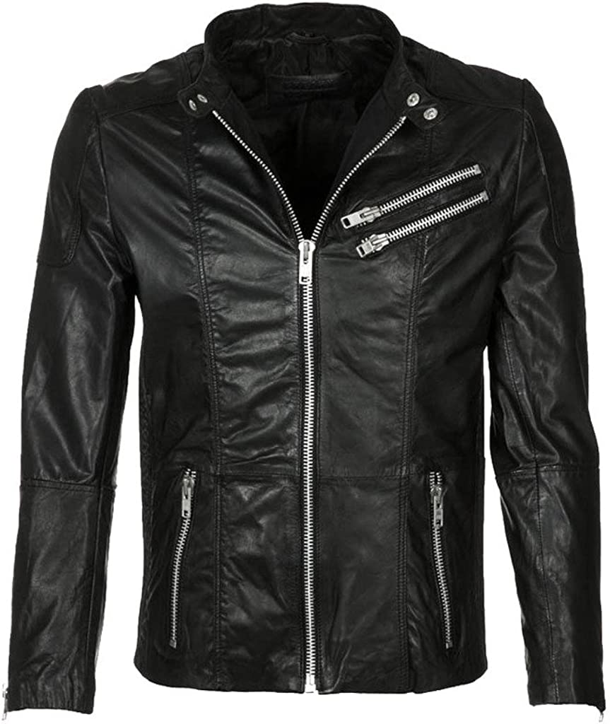 Mens Fashionable Slim Fit Motorcycle Bomber Cow Leather Jacket KC290