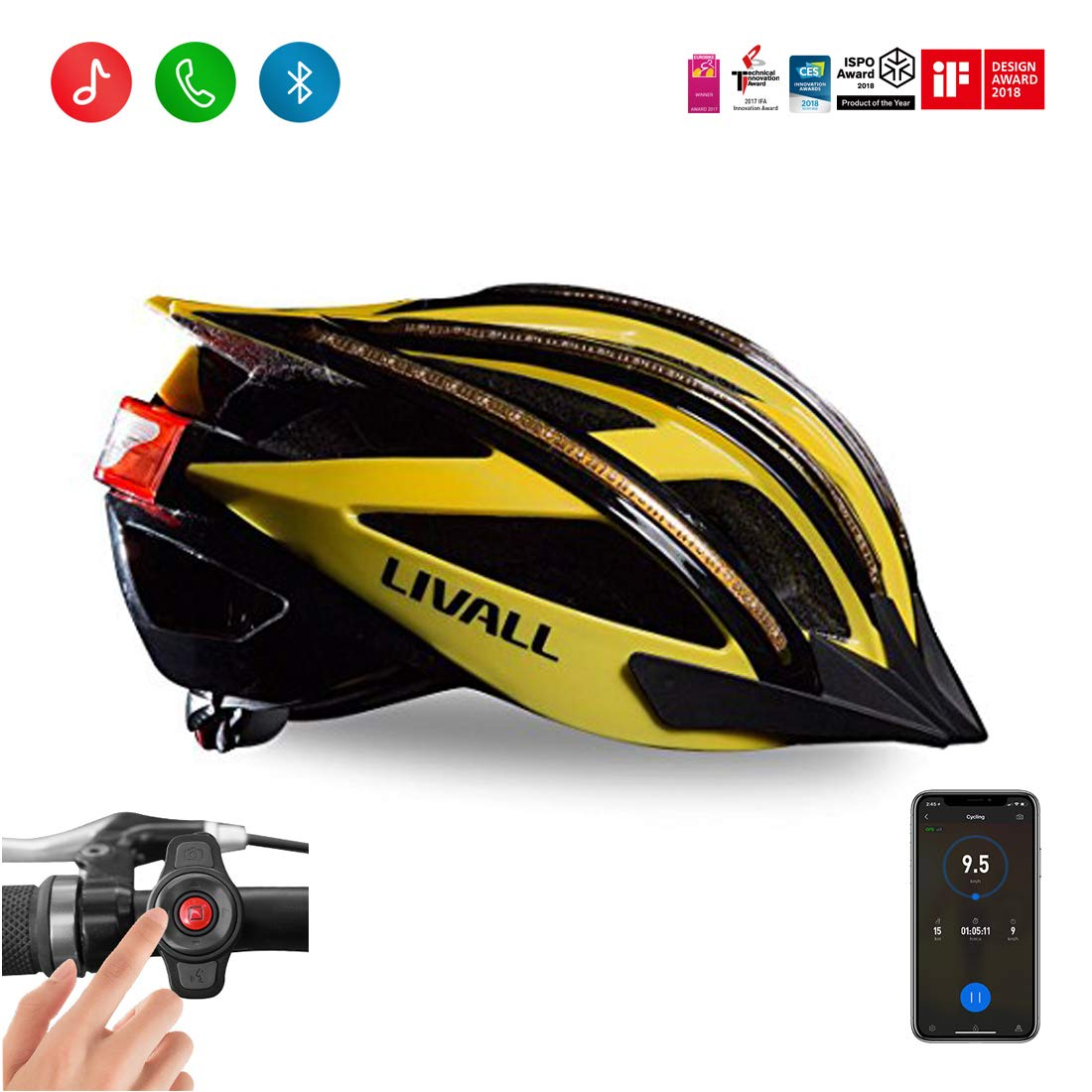 LIVALL BH100 First Smart Bling Bike Helmet with Lights LED on The top and Back, Built-in Windbreak Mic, G-Sensor, Bluetooth Speaker, with Bling Jet Controller, 450g Certified Cycling Helmet LIVALL Tech Co. Ltd