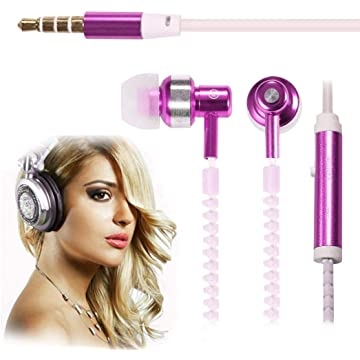 Fanala 6 Color Glow In The Dark Luminous Zipper Earphone Headset 3.5mm Wired In-Ear Headphone with Mic Corded Headsets