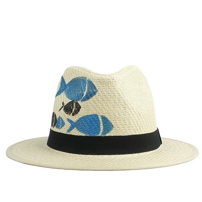 026295ef3dc6d 2018 Sombrero del Sol de Las Mujeres Sombrero Pintado a Mano del Sombrero  de Paja de los Pescados de Panamá para los Hombres (Color   Natural