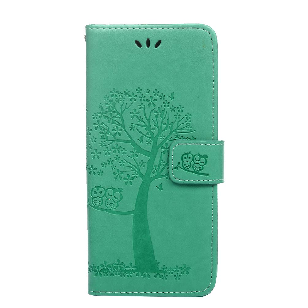 Samsung Galaxy A20e Case Shockproof 3D PU Leather Flip Case Embossed Owl Tree Notebook Wallet Cases with Magnetic Kickstand Money Pouch Folio Soft TPU Bumper Gel Protective Cover Skin Grey