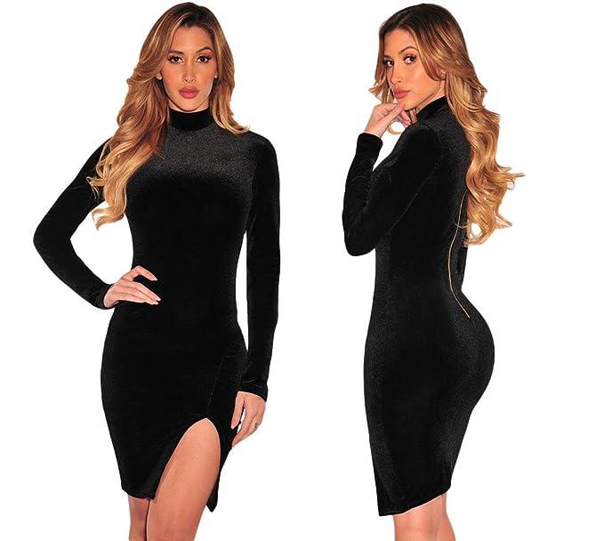 Vestido Negro Velvet Terciopelo Talla L Manga Larga Cuello