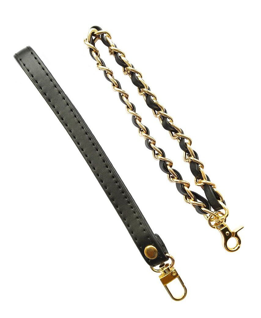 Beaulegan Wristlet Strap Replacement - Genuine Leather Strap and Chain for Purse, Wallet and Clutch Bag - 2 Styles, Black &Gold Buckle Wstrap-black