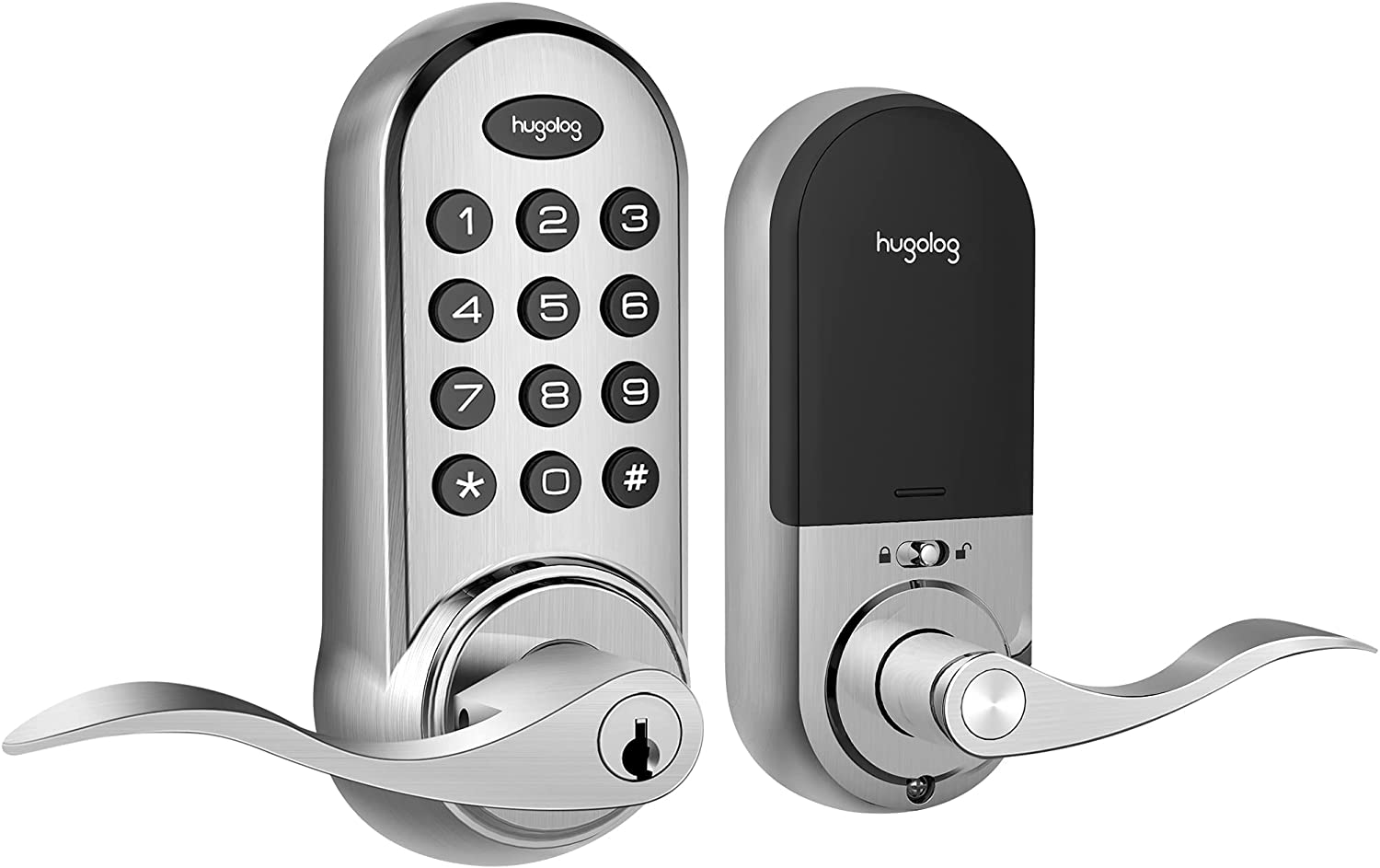 Hugolog Latchbolt Lock Electronic,Keyless Entry Door Lock, Keypad Door Lock with Handle, Easy to Install High Security Material for Metal Home & Office