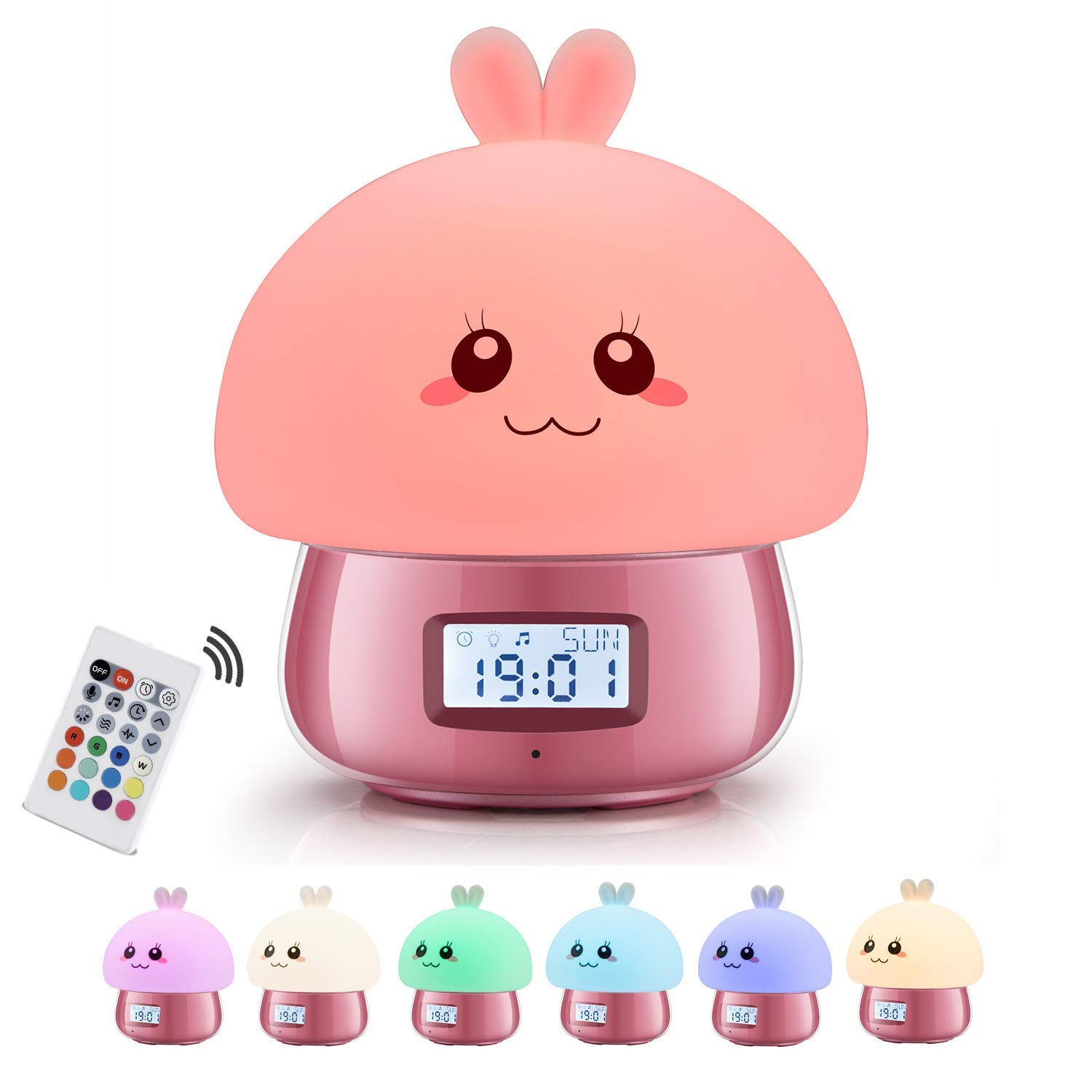 Alarm Clock, Girlish Silicone Bunny LED Wake-up Light with 7 Colors Night Lights, 11 Sounds Battery Operated & USB Rechargable Non Ticking Bedroom Desk Clocks for Toddlers Kids Girls(Pink)