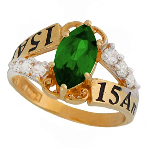 10k or 14k Yellow Gold Simulated Emerald Birthstone Quinceanera 15 Anos Ring Joaillerie Bijoux et montres