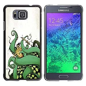 GOODTHINGS Funda Imagen Diseño Carcasa Tapa Trasera Negro Cover Skin Case para Samsung GALAXY ALPHA G850 - pulpo monstruo marino piernas verdes arte del océano
