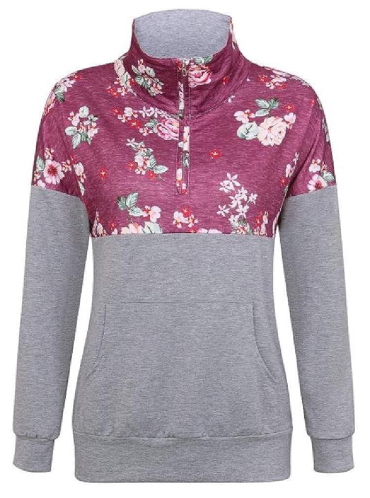 Hajotrawa Women Loose Lapel Neck Print Zipper Pocket Pullover Sweatshirts