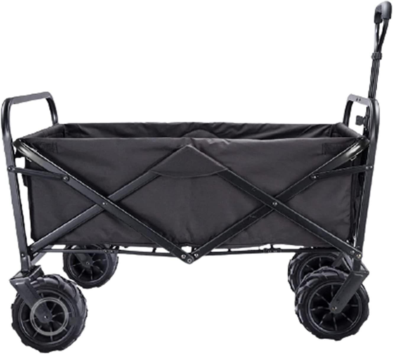 Garden Carts Folding Shopping Trolley Portable Four-Wheeled Trolley Camping Trolley,Black