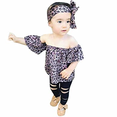 cb627344e Trada Newborn Baby Girls Outfits Kids Clothes Leopard T-Shirt Tops+ ...