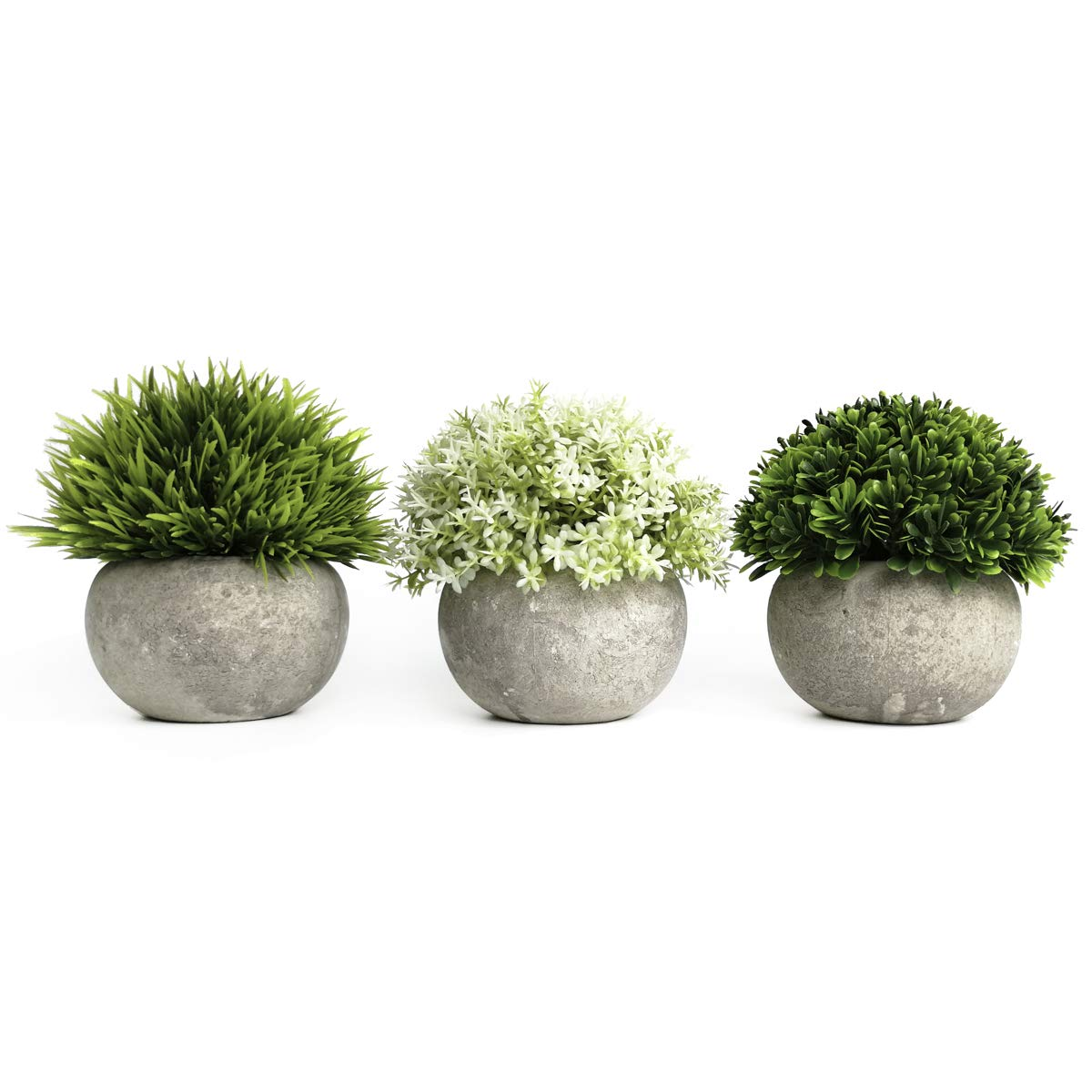 Tuokor 4.75'' Mini Artificial Plastic Plants Green Grass Shrubs White Flowers with Gray Pots for Home Decor, Office Decor - Set of 3 by Tuokor