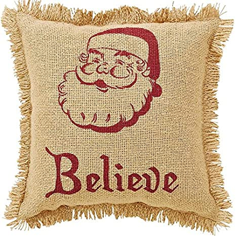 Amazon.com: Burlap Santa almohada con flecos.