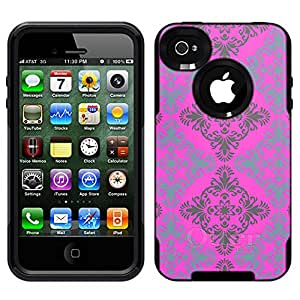 Skin Decal for Otterbox Commuter iPhone 4 Case - Victorian Pattern Blue and Grey on Pink