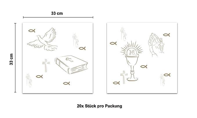20 x Servilletas Toalla Oro Blanco Mesa Mesa Decoración para decoración decoración Diseños Cruz, paloma, peces en Christliche fija como Comunión, ...