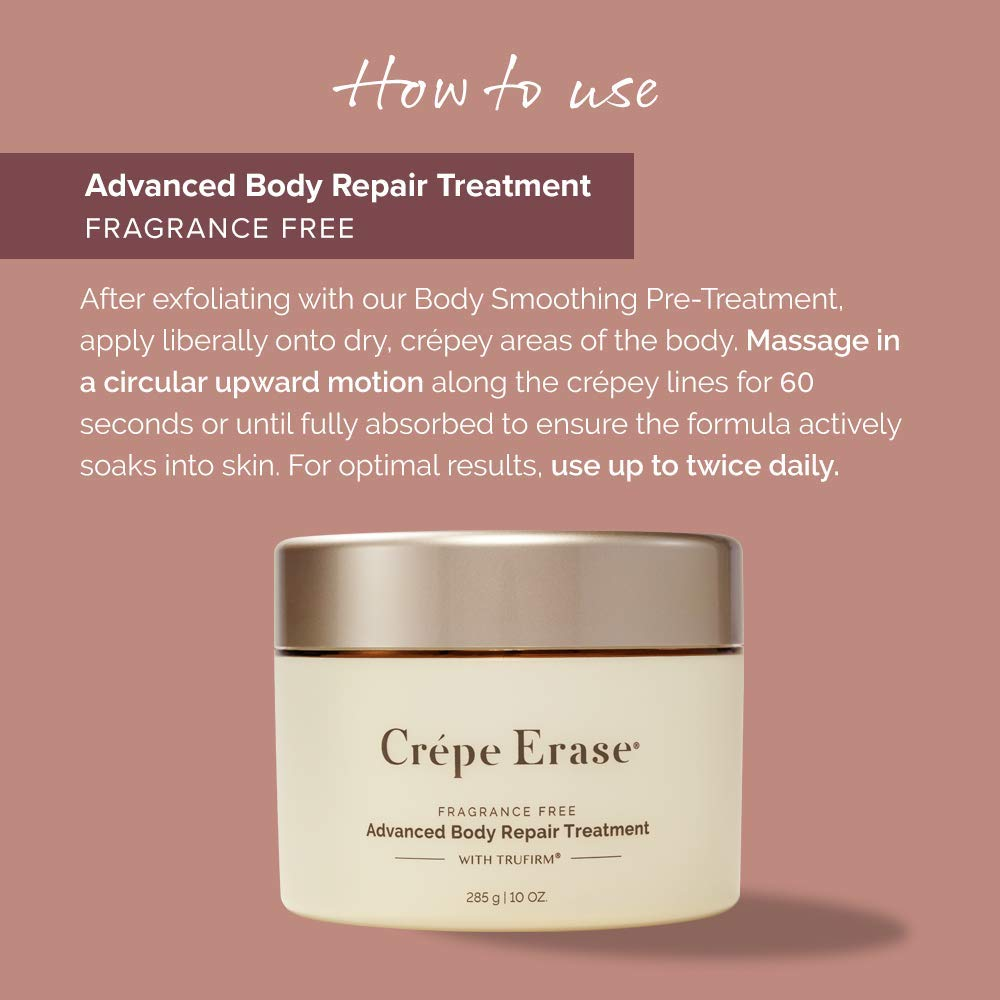 Crépe Erase Advanced – Advanced Body Repair Treatment with Trufirm Complex & 9 Super Hydrators – Fragrance Free – Full Size/10 Ounces by Crepe Erase (Image #4)