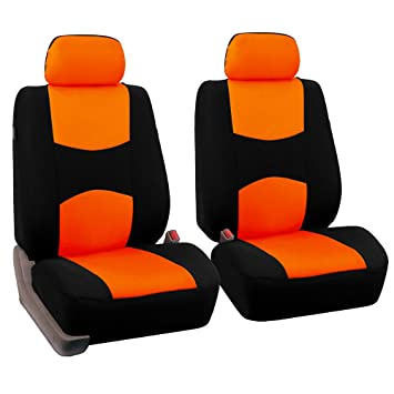 FH Group FB050ORANGE102 A Universal Fit Flat Cloth Pair Bucket Seat Cover Orange
