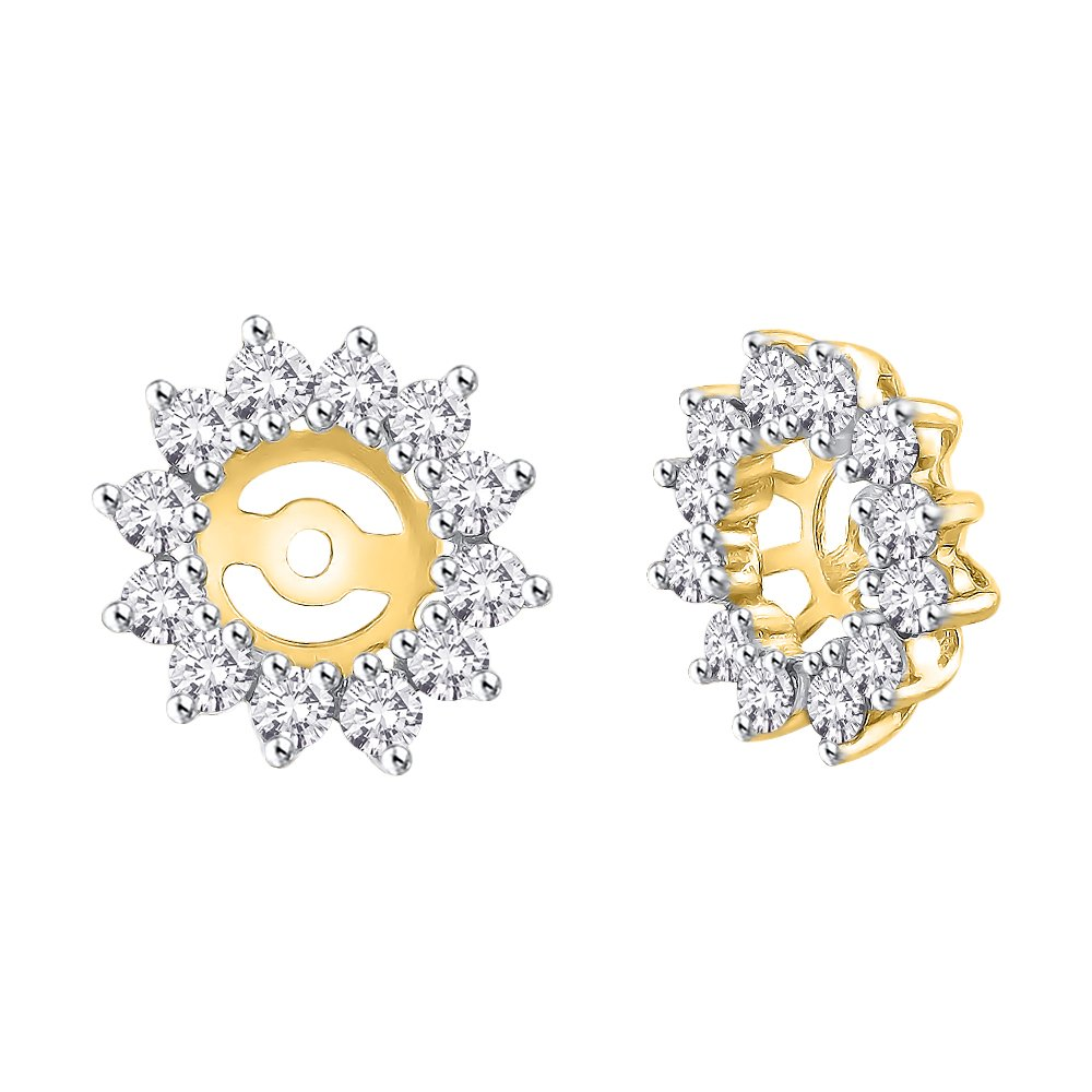 Diamond Floral Earring Jackets in 14K Yellow Gold (1 cttw) (Color GH, Clarity I2-I3)