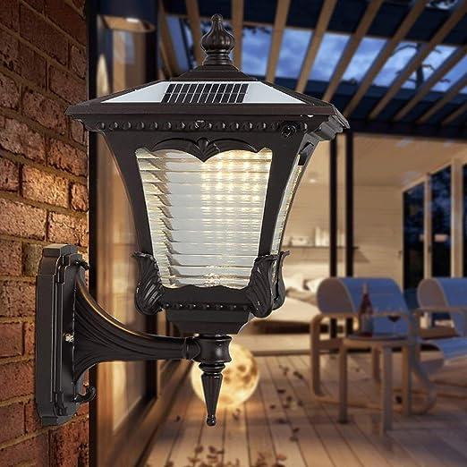 Solar/Electricidad Uso doble Lámpara pared Europea Exterior Impermeable LED Aplique pared Linterna Exterior Jardín Patio Iluminación pared Terraza Terrace Balcón Porche Parque Iluminación nocturna: Amazon.es: Hogar