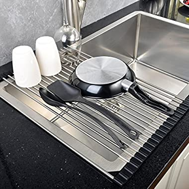 Roll-up Drying Rack Stainless Steel Foldable Over Sink Rack Black 17.7''(L)X10.2''(W)