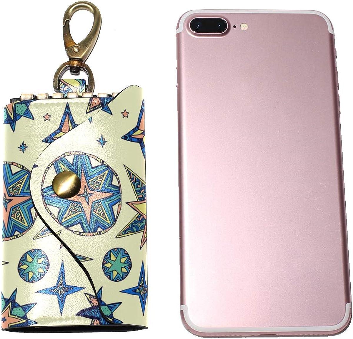 KEAKIA Fantasy Starry Sky Leather Key Case Wallets Tri-fold Key Holder Keychains with 6 Hooks 2 Slot Snap Closure for Men Women