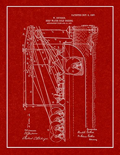 Deep-Water Gold-Dredge Patent Print Burgundy Red with Border (5