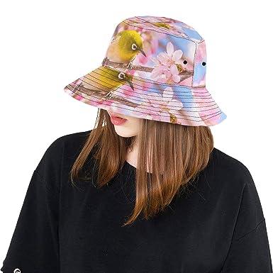Japanese Bird with Sakura New Summer Unisex Cotton Fashion Fishing Sun Bucket  Hats for Kid 757e8e98a2f