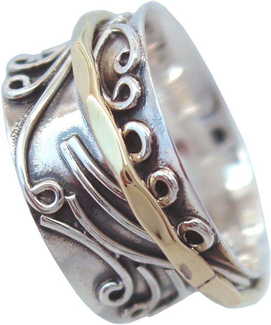 Energy Stone RADHA Ring floral gemustert aus Sterlingsilber mit Messing Drehring Style UK05
