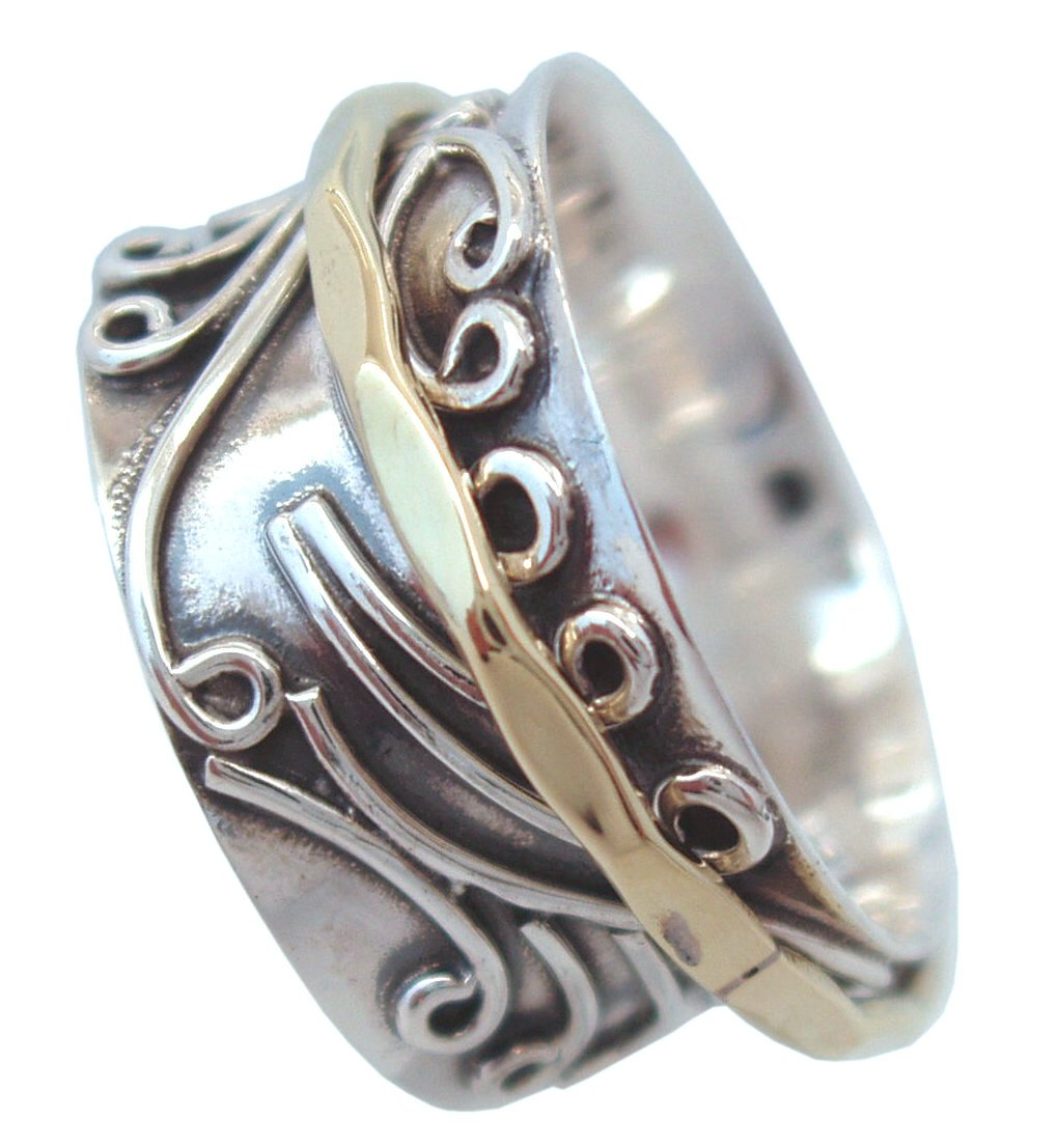 Energy Stone RADHA Meditation Spinner Ring with Brass Spinner on 3D Floral Pattern (Style #US05) (10.5) by Energy Stone (Image #3)
