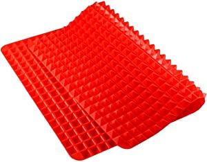 Silicone Pyramid Baking Mat, Pastry with Fat Reducing Healthy Cooking Heat-Resistant Non-stick for Oven Grilling BBQ (1, Red)