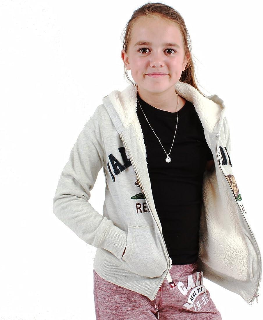 Oatmeal Dolphin Shirt Co California Republic Kidss Fur Lined Zip-Up Sweatshirt Hoodie