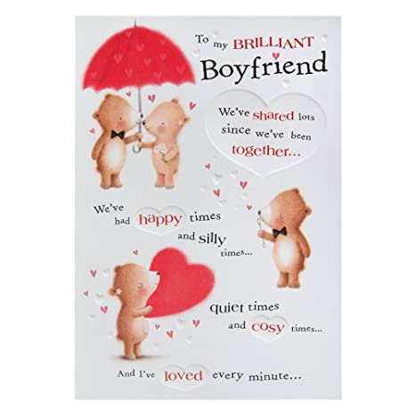 Amazon Hallmark Medium Boyfriend Cute Embossed Birthday Card Office Products