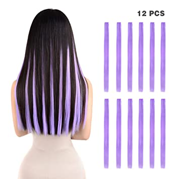 12 Pieces Party Highlights Clip In Colored Hair Extensions For Kids Girls Colorful Hair Extensions 22 Inches