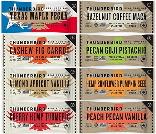 Thunderbird Paleo and Vegan Snacks Variety Pack - Real Food Energy Bars - Box of 8 - No Added Sugar, Grain and Gluten Free, Whole 30, Non-GMO ()