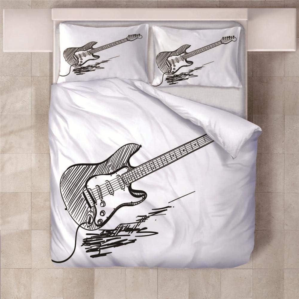 Jior Home Art Juego De Ropa De Cama 3 Piezas, Microfibra para Fundas De Edredón Incluye Una Funda De Edredón, Dos Fundas De Almohada,Anti-Ácaros Guitarra Eléctrica,180x220cm