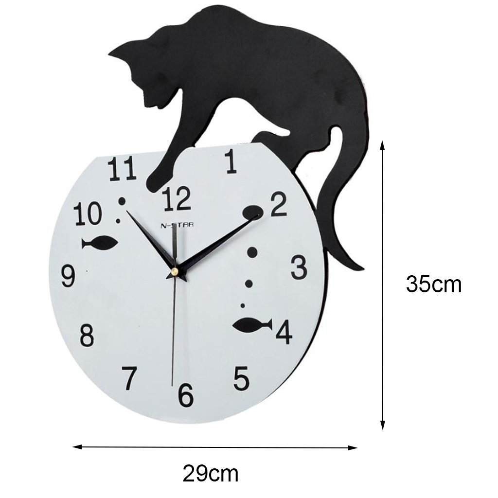 Amazon.com: 3D Home Decor Acrylic Wall Clock Cat And Fish Design Big Watch Quartz Cat Clock Living Room Decorative Clocks: Home & Kitchen