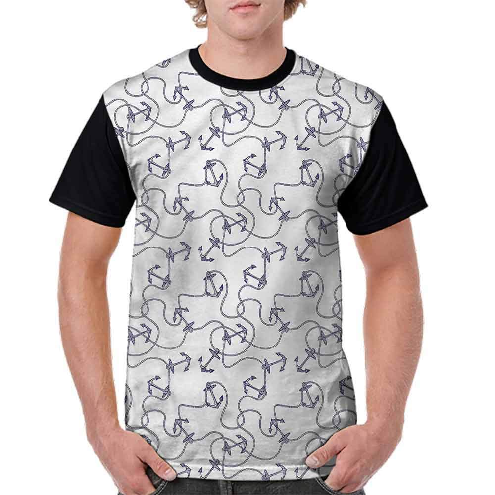 Performance T-Shirt,Hand Drawn Anchors Fashion Personality Customization