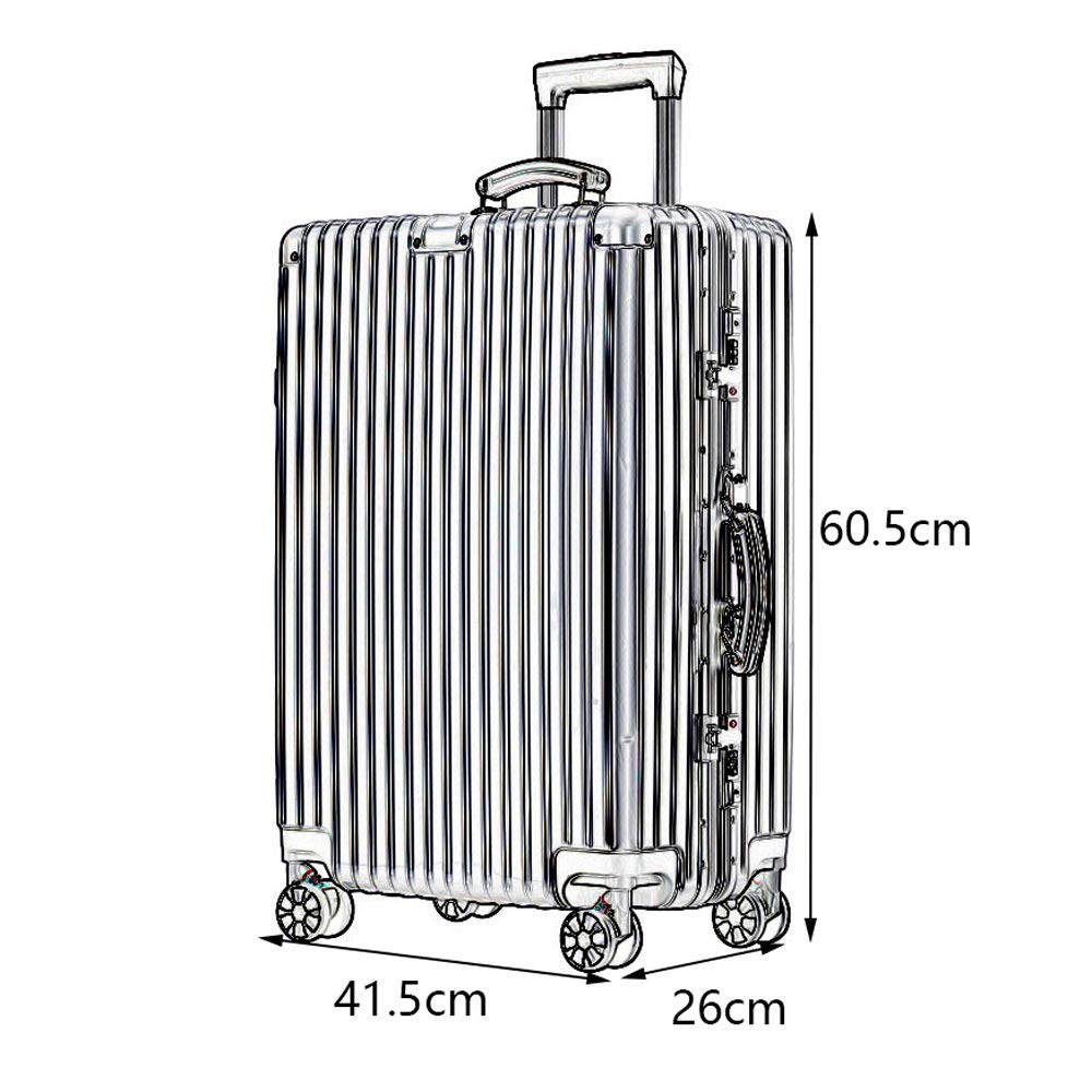 5 Colors Stylish Small Fresh Retro Bright Aluminum Frame Caster Student Large Capacity Suitcase Built-in Password Lock Comfortable Handle YD Luggage Set Trolley case ABS//PC 2