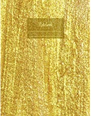 """Notebook: Composition Notebook. College ruled with soft matte cover. 120 Pages. Perfect for school notes, Ideal as a journal or a diary. 9.69"""" x 7.44"""". Great gift idea. (Thick paint golden cover)."""