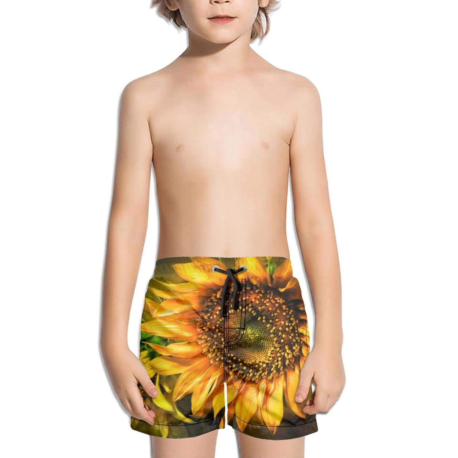 XULANG Kids Boys Girls Dramatic Sunflower Wallpaper Swim Trunks Watersports Street Swimwear Fashion Boardshorts