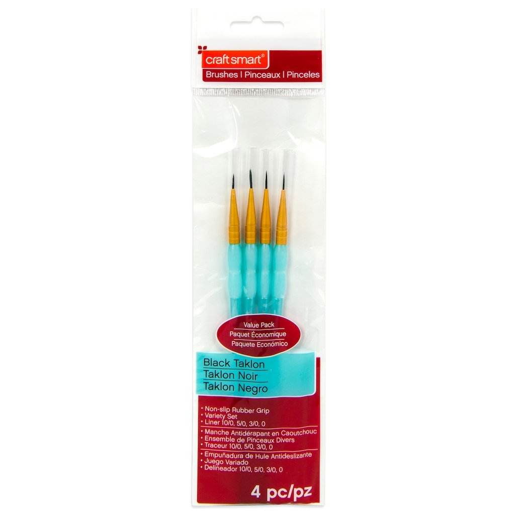 Black Taklon Liner Brushes Value Pack 4 piece