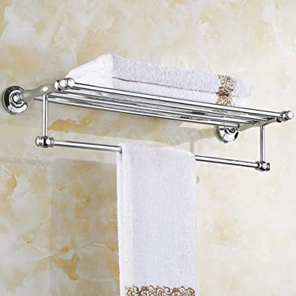 Towel Rail Silver Home Bathroom Chrome Wall Mounted Metal Shelf