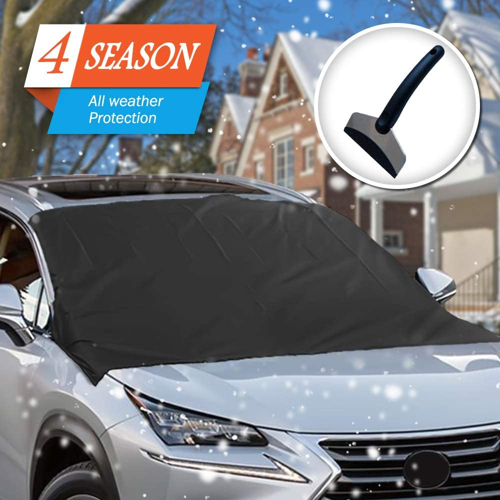 Liobaba Practical Car Windscreen Cover Anti Ice Snow Frost Shield Dust Protection Heat Sun Shade Ideally for Front Car Windshield