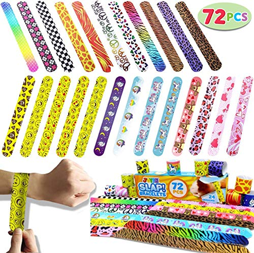 JOYIN Toy 72 PCs Slap Bracelets Valentines Day Party Favors Pack (24 Designs) with Colorful Hearts Animal Emoji and Unicorn for Valentines Gift and Classroom Exchange