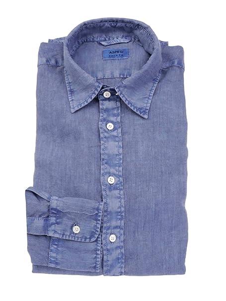 f397f614fe ASPESI Camicia Uomo CE66C19585032 Lino Blu: Amazon.it: Abbigliamento