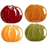 Modern Farmhouse Home Harvest Pumpkin Shaped Ceramic Appetizer Plates, Set of 4