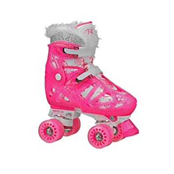8147b3376 Patins Quad 4 Rodas Roller Derby Princess Ajustável Rosa  Amazon.com ...