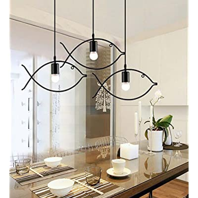 3 Pc Set Européenne Fer Unique Tête de Poisson Pendentif Lampe Suspendue Lumière Industrielle Style Creative Chandeliers Vêtements Boutique / bar Table / r / allée Simple Forgé Dé