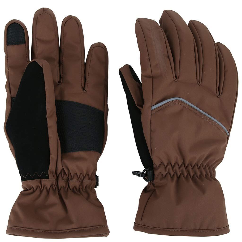 Llsdls Ski-Fäustlinge, Touchscreen-Handschuhe, Atmungsaktive, Rutschfeste Fäustlinge , für Camping Wandern Radfahren Reiten Motorrad Radfahren Jagd (Farbe : Brown, größe : XL)