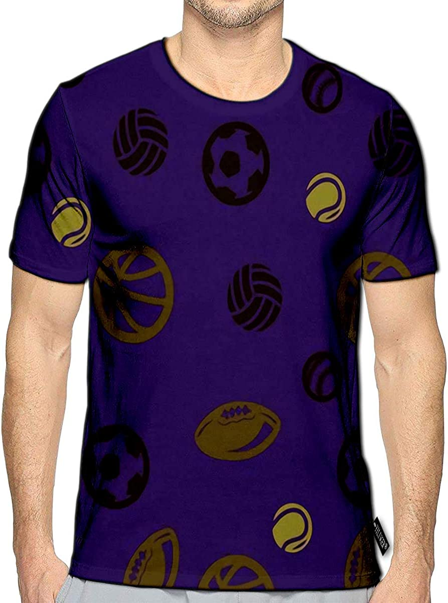 3D Printed T-Shirts Ball Basketball Football Volleyball Tennis Baseball Rugby Purple Short Sleeve Tops Tees