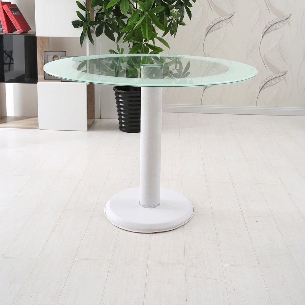 Hawastar marble Base Iron Frame Tempered White Side Round Clear Glass Top Dining Table Breakfast Bar Furniture